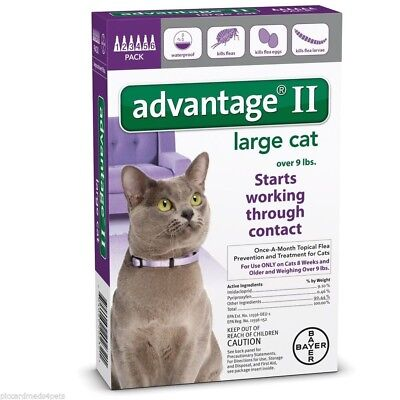 Bayer Advantage II Cats over 9lbs 6 pack Six months new sealed EPA product