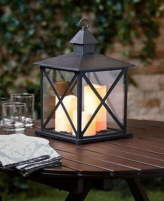 Black Outdoor Table Lantern Lamp Outdoor Triple Candle w/ Timer Yard Deck Decor