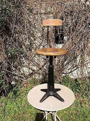 antique industrial singer chair stool