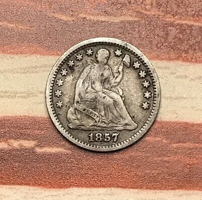 1857-O 5C Seated Liberty Half Dime 90% Silver Vintage US Coin #JA18 Nice Appeal