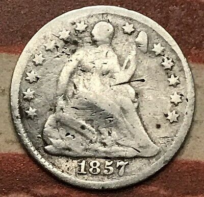 1857 5C Seated Liberty Half Dime 90% Silver Vintage US Coin #JA19
