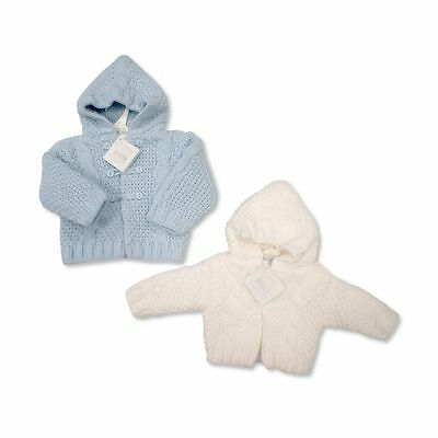 Baby Double Knitted Traditional Pram Coat Cardigan Cable Knit by Nursery Time