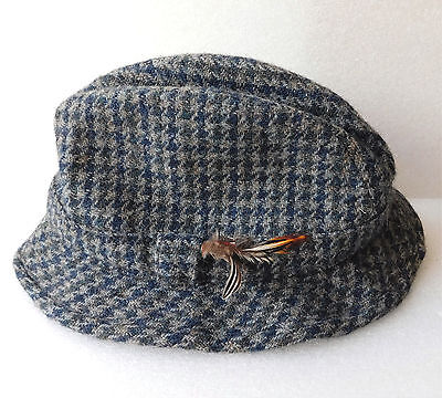 Harris Tweed Trilby hat blue wool Failsworth vintage mens classic country Small