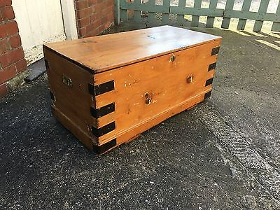 Gorgeous Antique Victorian 19Th C Pitch Pine Blanket Box Coffer Coffee Table