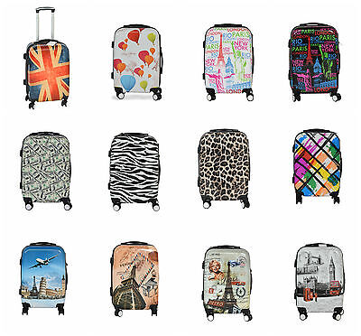 "Small 20"" Suitcase Lightweight 4 Wheel Spinner Hard Shell Luggage Trolley Cabin"