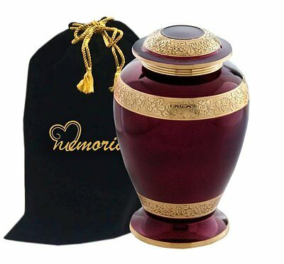 Tyrian Purple and Gold Brass Cremation Urn for Human Ashes!