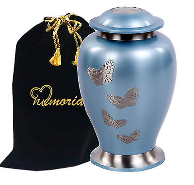 Avondale Teal Butterfly Brass Cremation Urn for Human Ashes