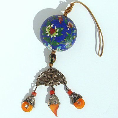 ANTIQUE Chinese CHING DYNASTY Enamel Cloisonne Carnelian & SILVER Pendant OLD