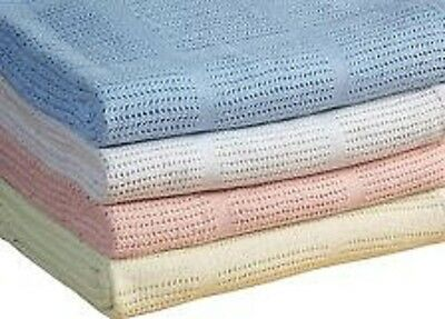 Pram Cellular Cotton Baby Blanket 75x100cm Blue/Pink/White/Cream Baby Swaddling