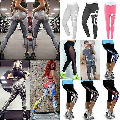 Women Yoga Leggings Fitness Sportswear Tracksuit Gym Cropped Stretch Trousers