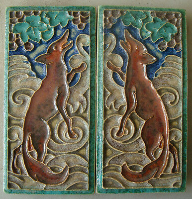 Two mirrored Royal Delft (Porceleyne Fles) Cloisonné tiles with a Fox