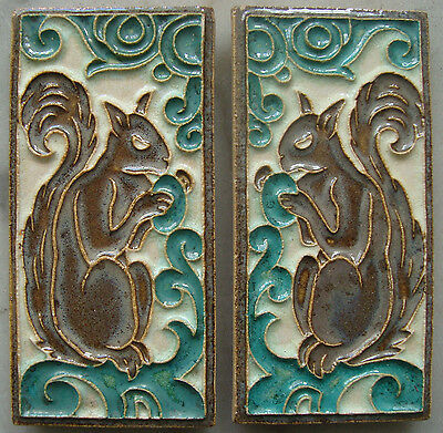 Two mirrored Royal Delft (Porceleyne Fles) Cloisonné tiles with a squirrel