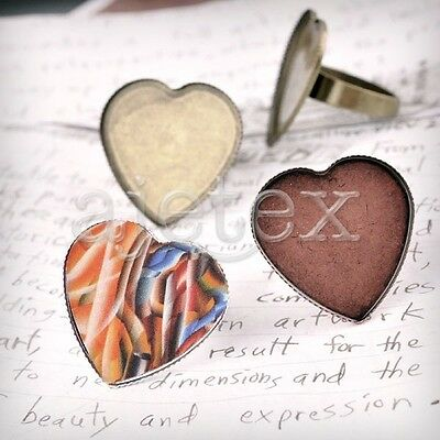 Jewellery Settings Ring Mountings Heart/Round Antique Copper/Brass/Silver