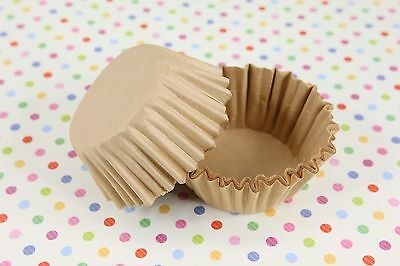 """1-5/8'' x 15/16"""" Paper Cupcake Muffin Liners, Baking Cups, Natural, Unbleached"""