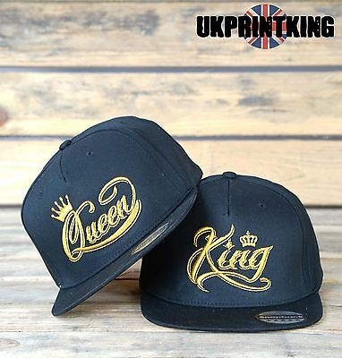 King And Queen Crown Snapback Pair Fashion Embroidered Rapper Caps Hats Gold