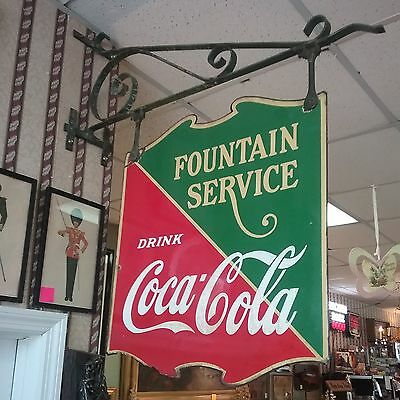 1934 Porcelain Drink Coca Cola Fountain Service Double Sided Sign with Bracket