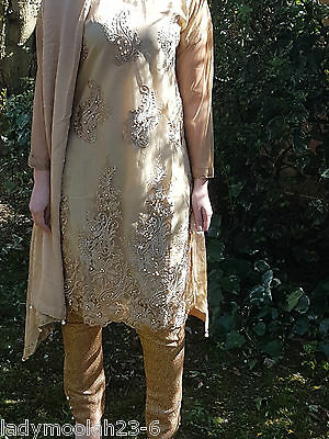 MARIA.B DESIGNER NET SUIT GOLD GOLD EMBROIDERY Shalwar Kameez  3PC STITCHED M UK