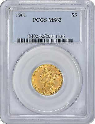 1901 $5 Five Dollar Gold MS62 PCGS Liberty Mint State 62