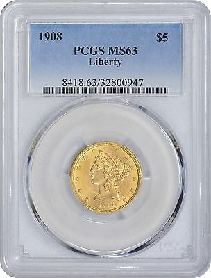1908 $5 Five Dollar Gold MS63 PCGS Liberty Mint State 63
