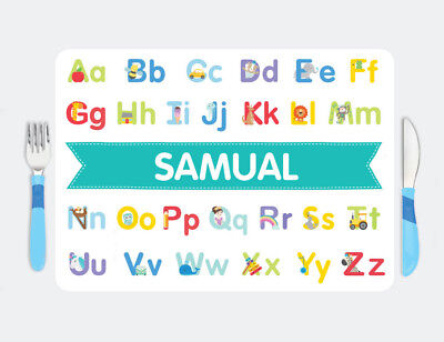 Bright Star Kids Personalised Large Plastic Placemat for Toddler - Alphabet ABC