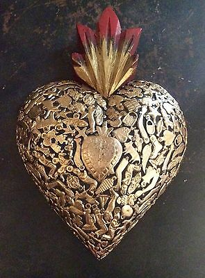 "Milagros Heart, Sacred Heart 10x7"", Thick Wood Heart, Mexican Folk Art, Black"