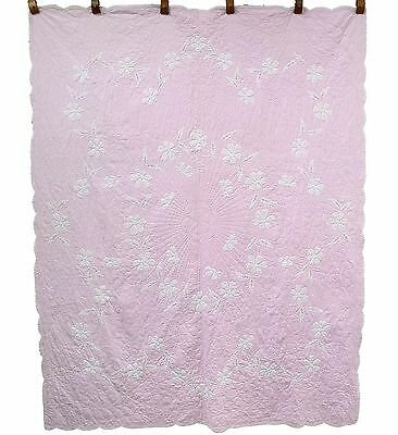 Beautiful Romantic 8-9spi soft PINK & white DAISY CHAIN vintage applique quilt