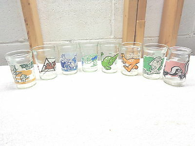 Lot of 8 WELCH'S Jelly~Juice Glasses~Tom & Jerry~Looney Tunes~Dinosaurs~VGC!