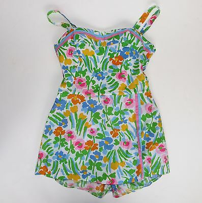 Vintage 50s 60s Small GABAR New York Pinup Bright Mod Floral Swimsuit Romper