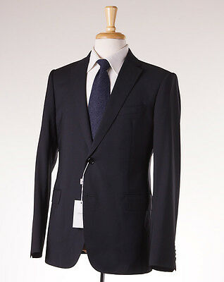 NWT $1795 ARMANI COLLEZIONI 'M-Line' Slim-Fit Solid Black Wool Suit 40 R