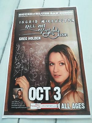 """INGRID MICHAELSON Concert Poster EVERYBODY San Diego House of Blues 11""""x17"""""""