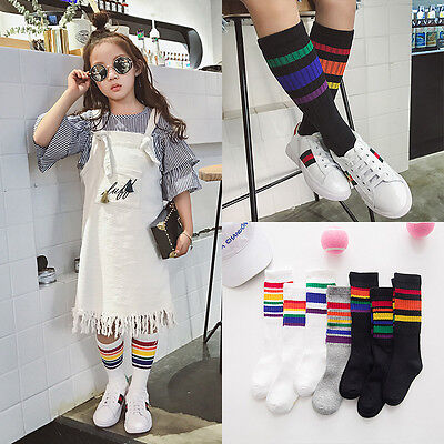 Kids Baby Girls Boy Casual Rainbow Striped Knee High Stockings Cotton Soft Socks