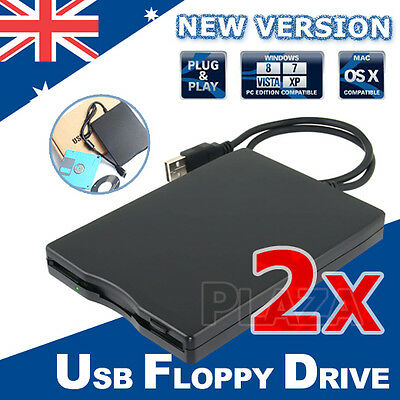 "2X Portable USB Floppy Disk Drive for Laptop PC Win Mac 3.5"" External 1.44MB"