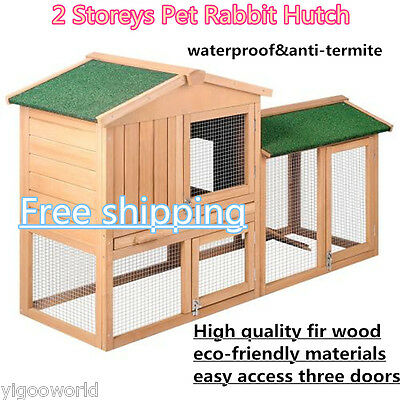 Rabbit Hutch Chicken Coop Cage Guinea Pig Ferret Pet House w/ 2 Storey Run Large