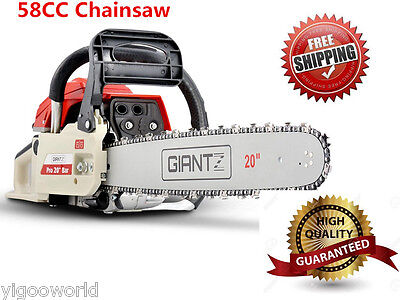 "NEW Commercial 58CC Petrol Chainsaw 20"" Bar Pruning Tree E-Start Chain Saw 4.2Hp"
