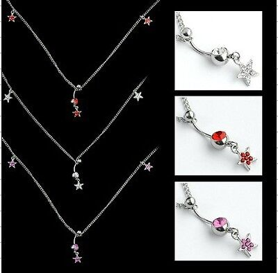 UK Silver Stainless Steel Belly Bar and Beach Waist Chain Piercings Full Star