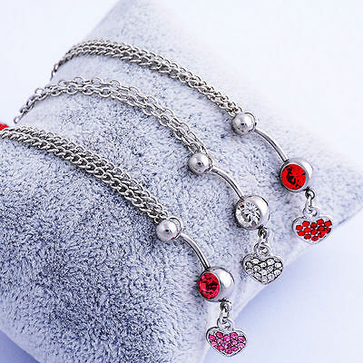 UK Silver Stainless Steel Belly Bar and Beach Waist Chain Piercings Heart