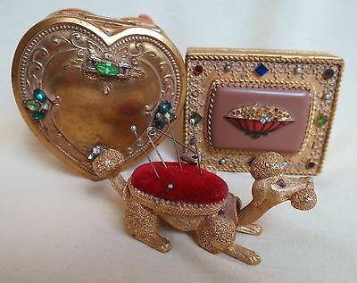 Vintage GOLD PLATED METAL RHINESTONES JEWELRY BOX & FLORENZA POODLE PIN CUSHION