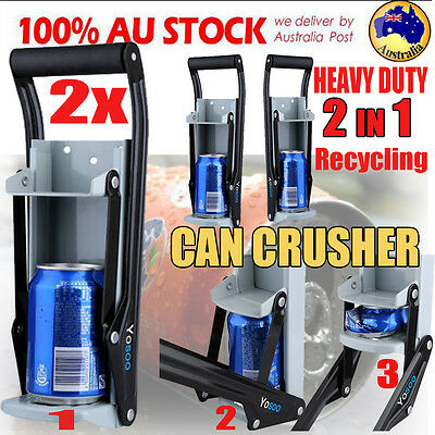 2X CAN CRUSHER Beer Soda Smasher 16oz Aluminium Recycling Bottle Opener Mount AF