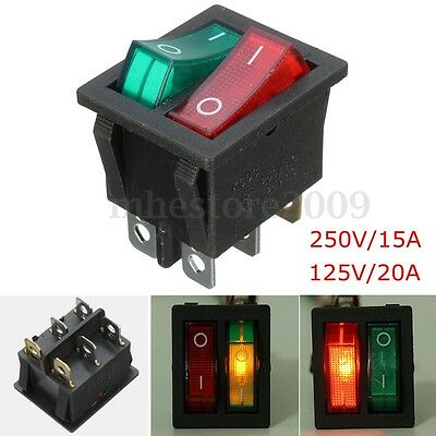 6 Pin ON/OFF Double SPST Rocker Boat Switch 250V/15A 125V/20A Red Green Light