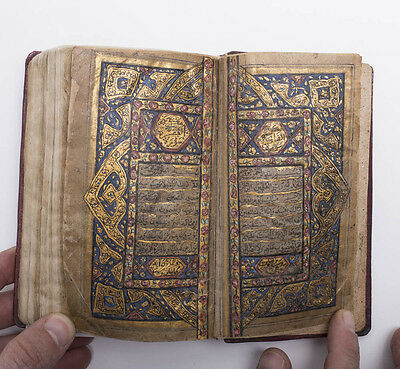 Highly Illuminated Small Arabic Manuscript Koran Book.Illuminated Arabic Manuscr