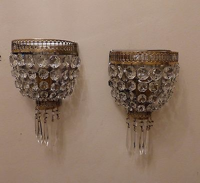 Super Pair Vintage French Brass Crystal Bag Demi-Lune Wall Lights, Rewired