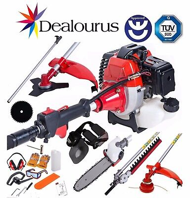 2018 52cc Petrol Brush Cutter Strimmer Hedge Trimmer Chainsaw Garden Multi Tool