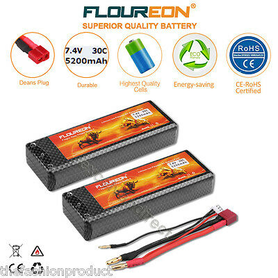 2x 2S 7.4V 4000mAh 30C Lipo Battery Deans for RC Helicopter Airplane Car Truck