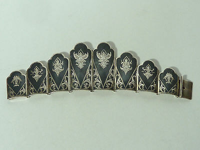 """Sterling Silver & Niello Bracelet """"made In Siam"""" W/ Graduated Links, Small Size"""