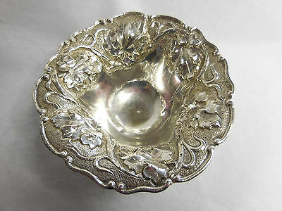 Grape Leaf And Vine Decorated Silver Bowl 900 Standard No Monogram