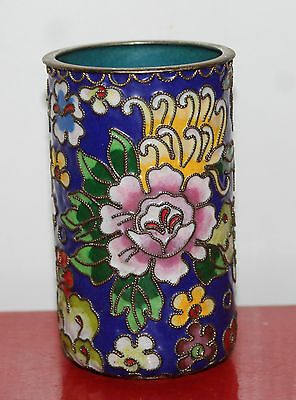 A Tapering Bottom Late C19th Chinese Cloisonne Enamel Millefiorie Brush Pot