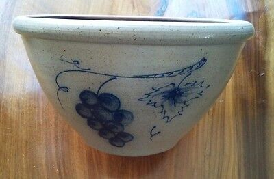 Rockdale Union Stoneware Grape and flowers hand made bowl 8 inch