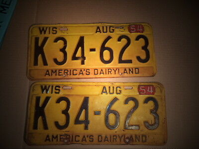 Vintage License Plates Wisconsin 1954 Matching pair Nice Take A Look!