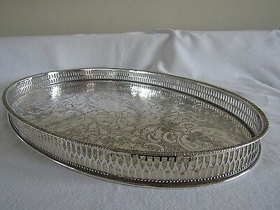 Vintage Oval Silver Plate Galleried Tray - Viners - Sheffield - Chased - No 28