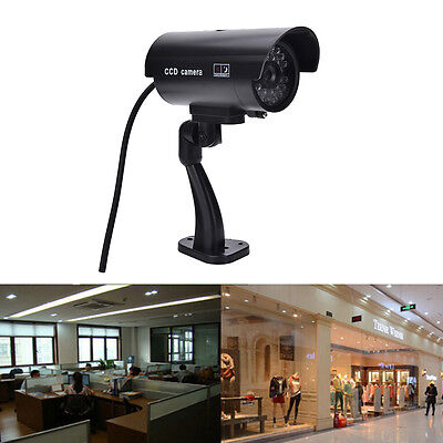 Quality Dummy Fake Outdoor Indoor Security Camera Night Blinking LED BLACK 4XU